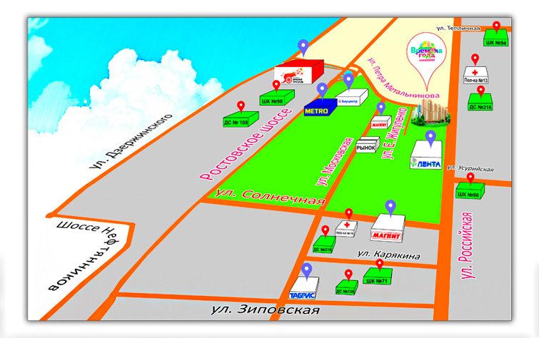 Карта проезда и района ЖК